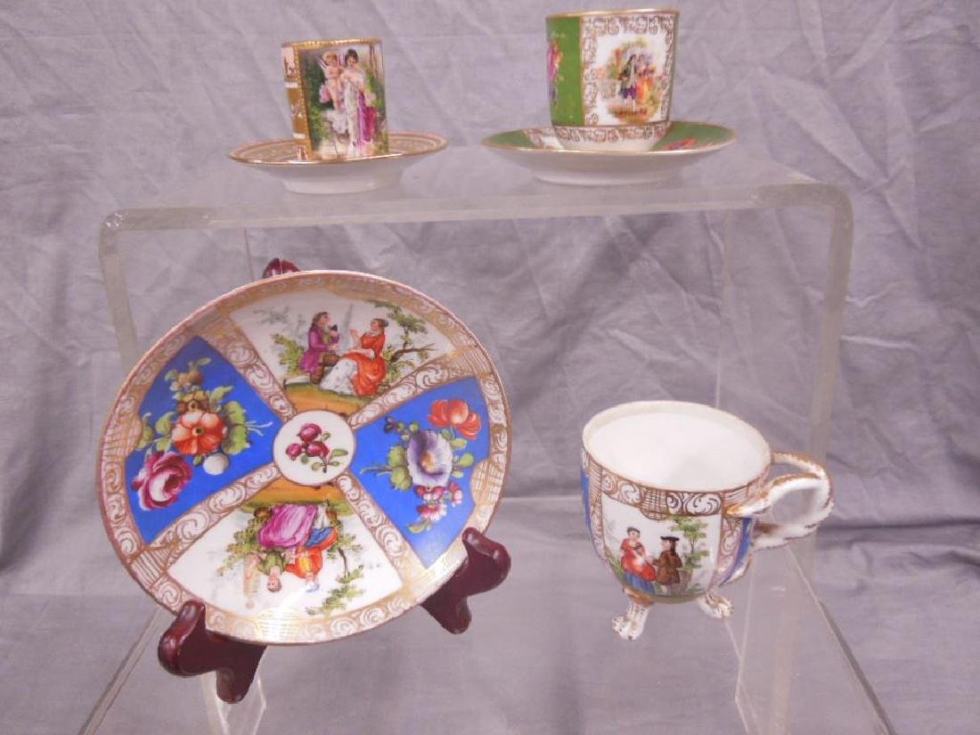 3 Courting Scene Cups & Saucers