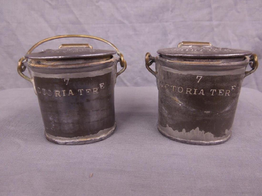 2 Antique Pewter English Dairy Containers
