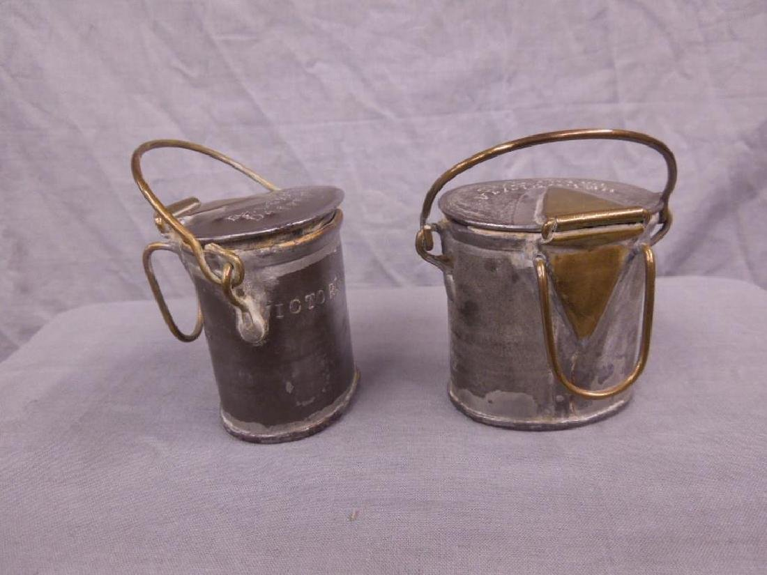 2 Antique Pewter English Dairy Containers - 3