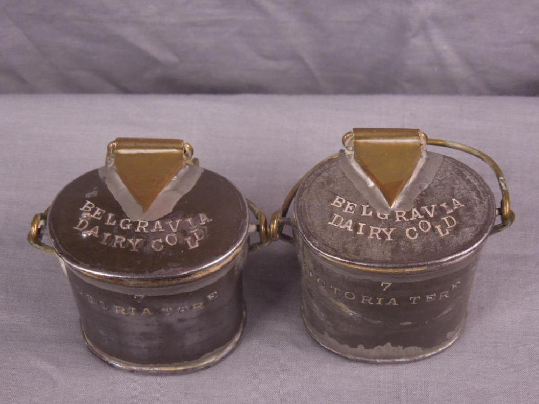 2 Antique Pewter English Dairy Containers - 4