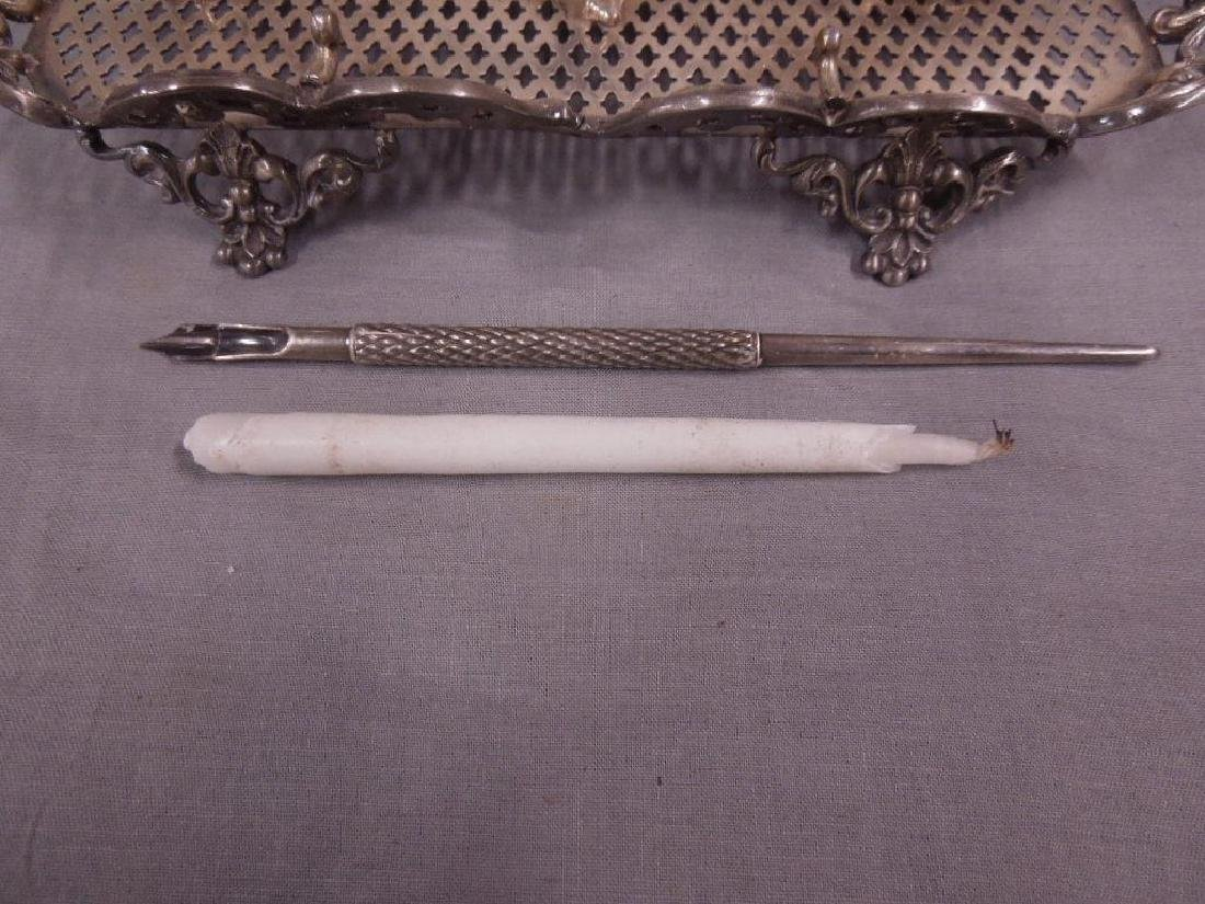 19th C Silvered Ink Stand - 2