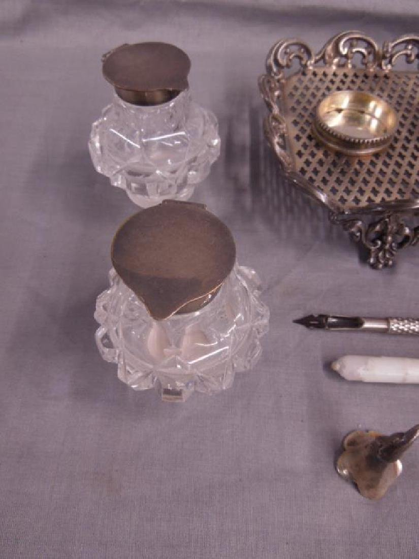19th C Silvered Ink Stand - 3