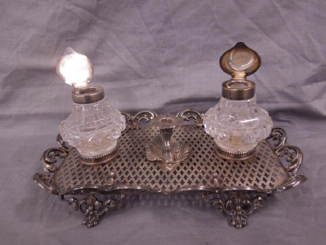 19th C Silvered Ink Stand - 5