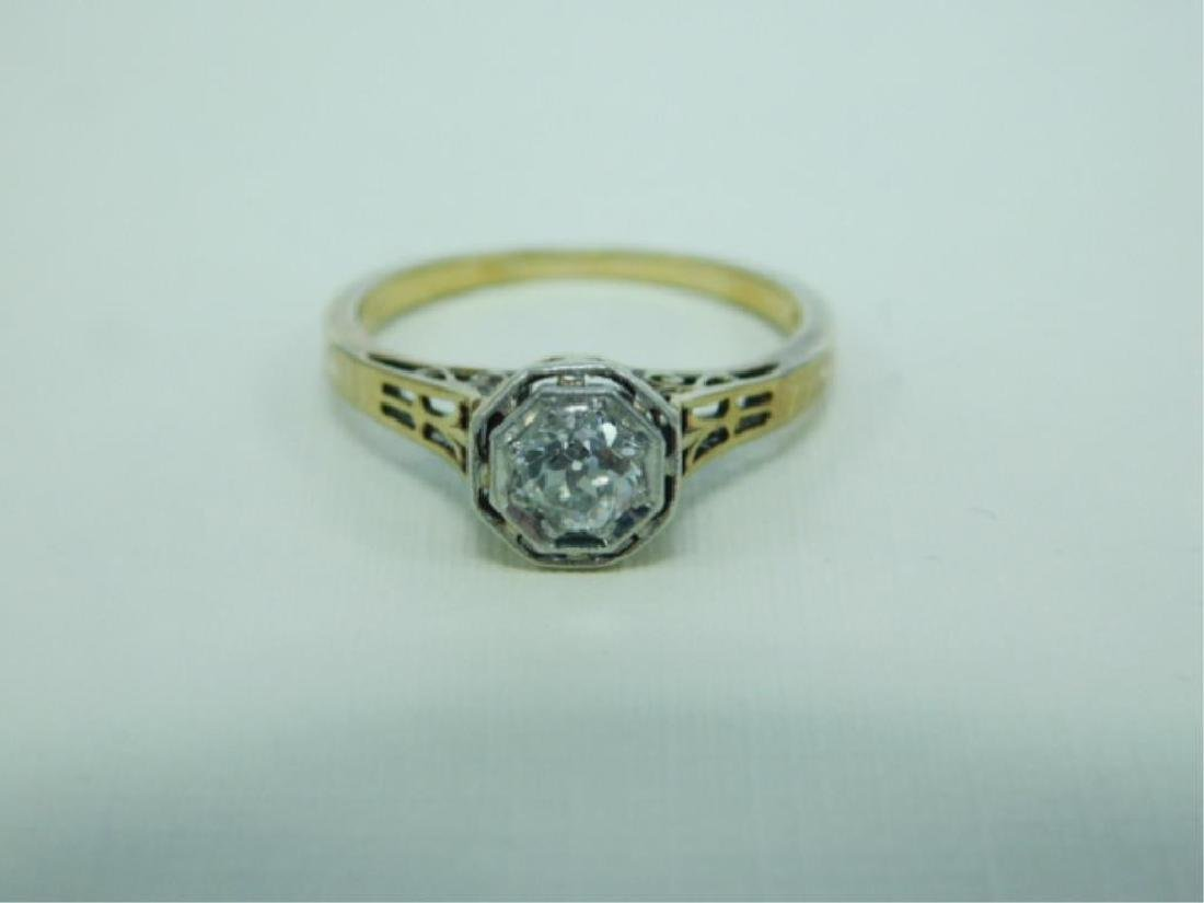 14K YG Hexagonal Deco Diamond Ring