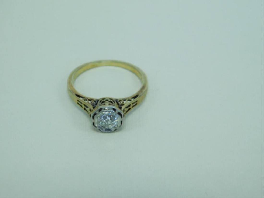 14K YG Hexagonal Deco Diamond Ring - 2