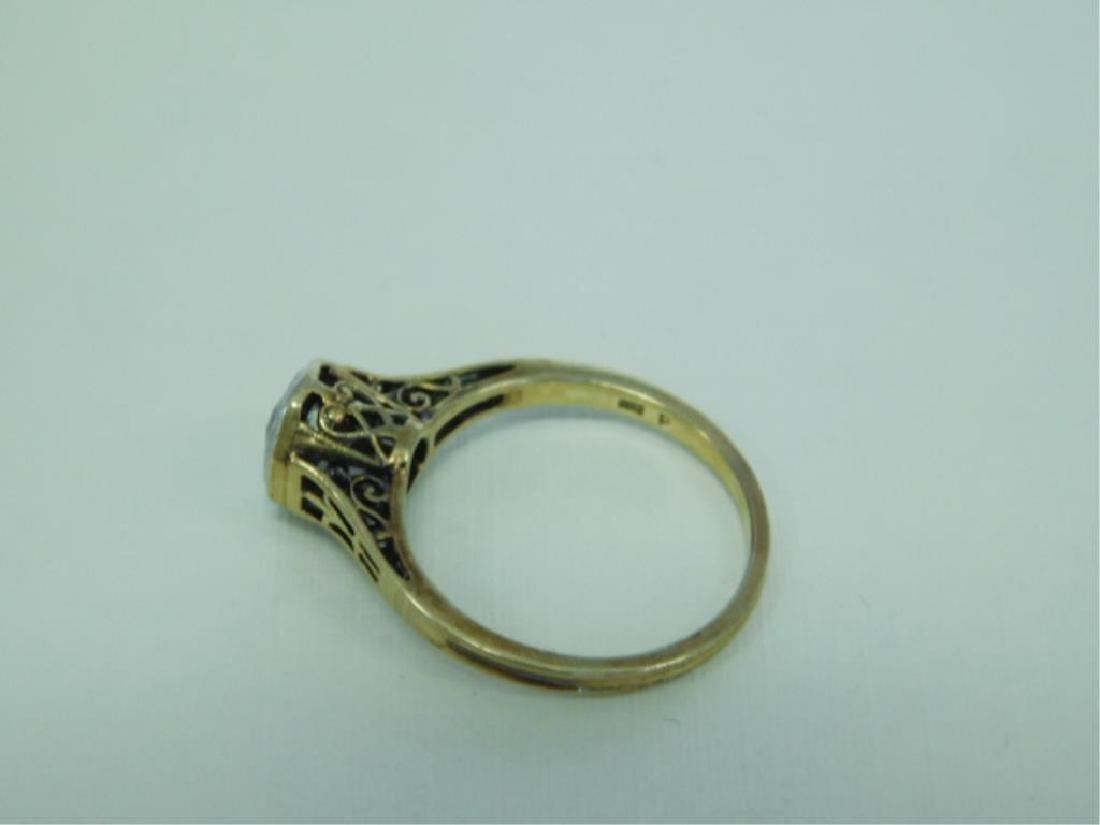 14K YG Hexagonal Deco Diamond Ring - 3