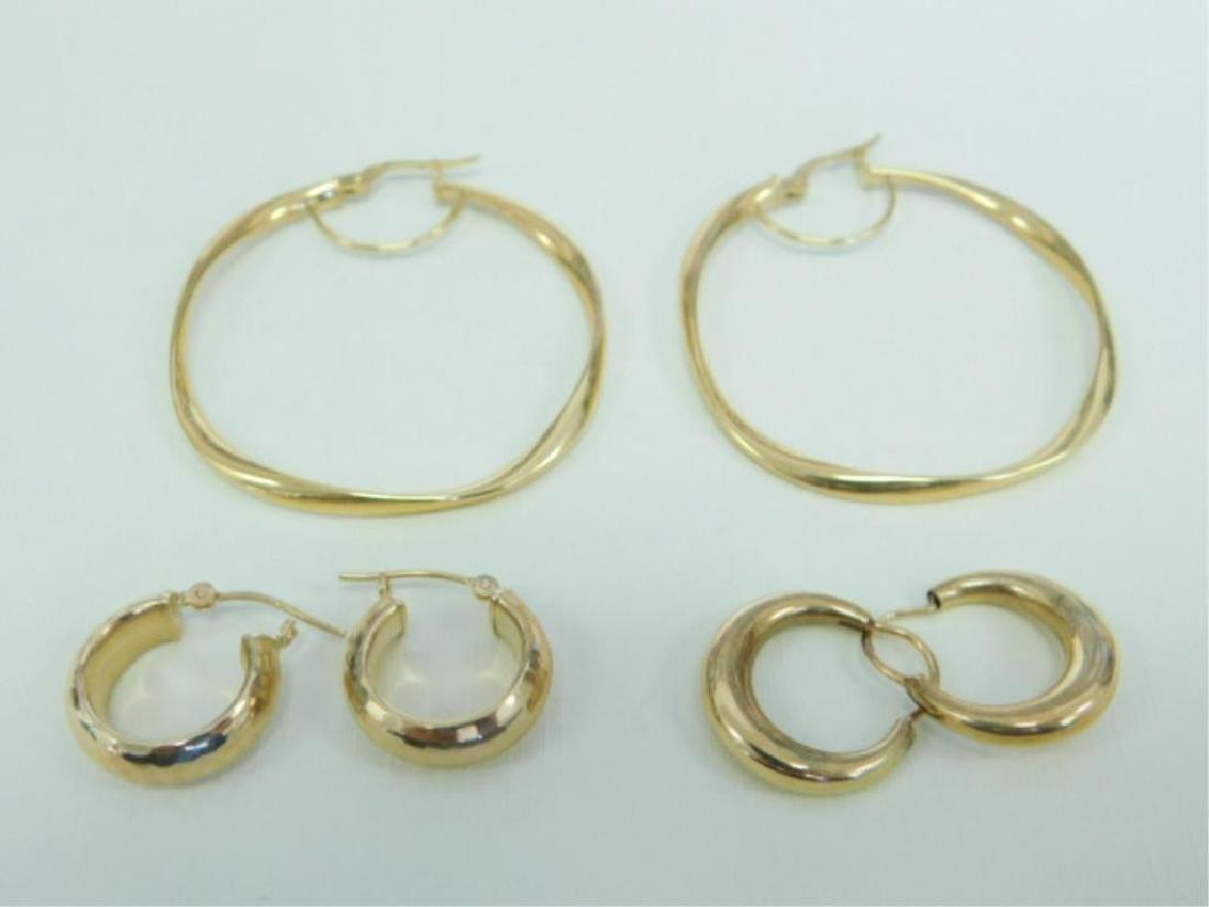 3 Pr. 14k YG Hoop Earrings