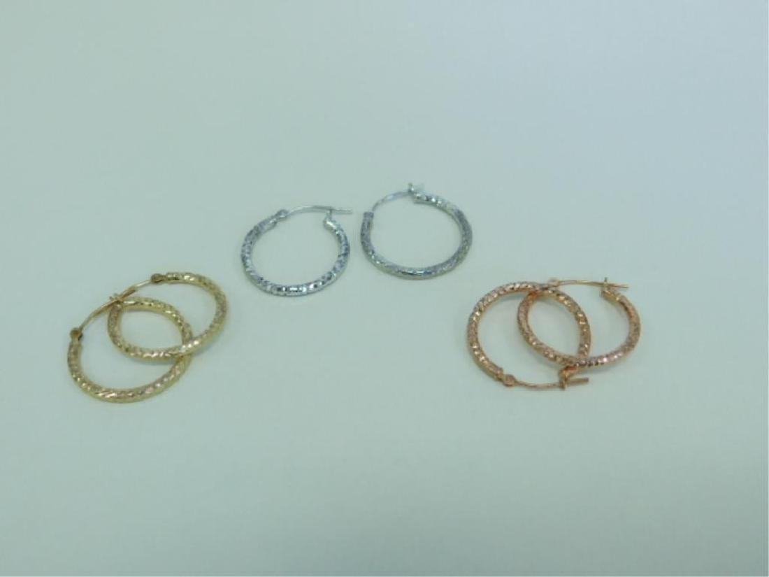3 Pr 14k Tricolor Earrings