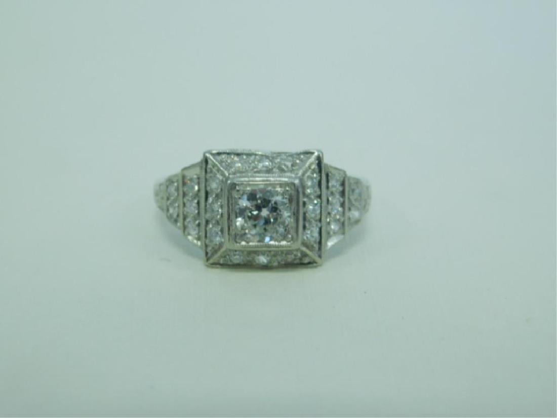 Platinum Deco Diamond Ring - 2