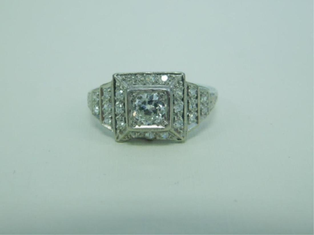 Platinum Deco Diamond Ring - 3