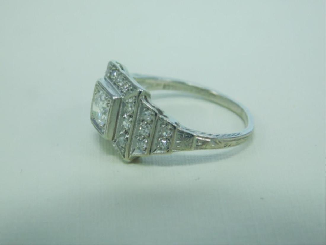 Platinum Deco Diamond Ring - 4
