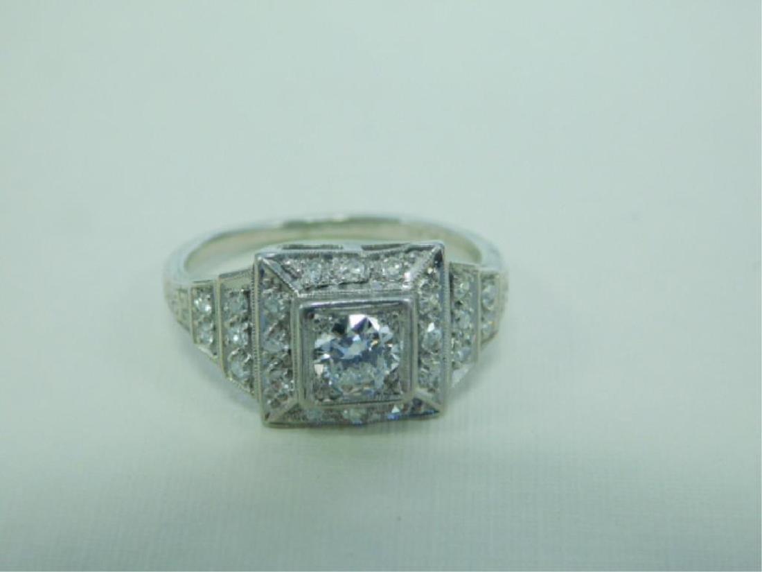Platinum Deco Diamond Ring - 5