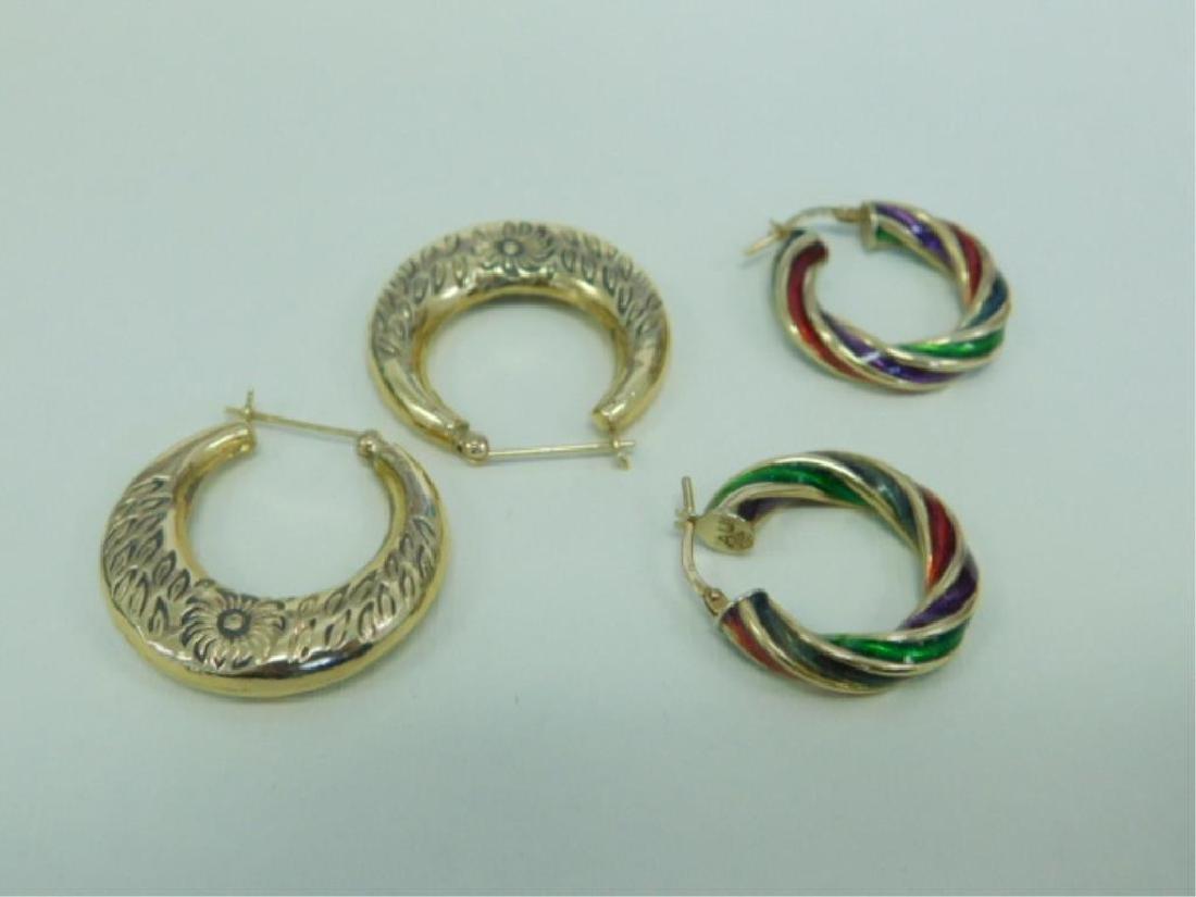 2 Pr. 14K Hoop Earrings
