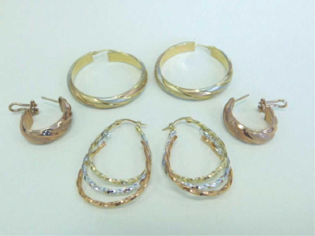 3 Pr. 14k Tricolor Hoop Earrings