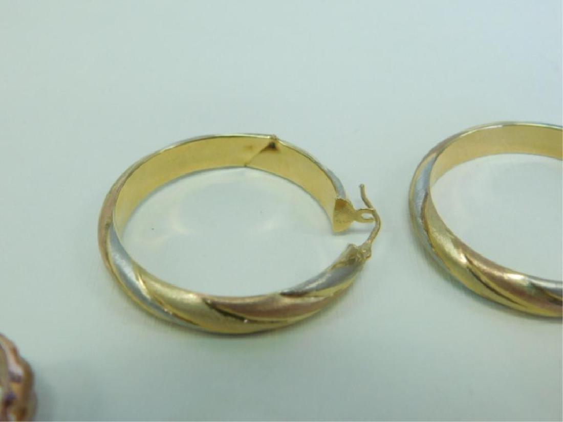 3 Pr. 14k Tricolor Hoop Earrings - 2