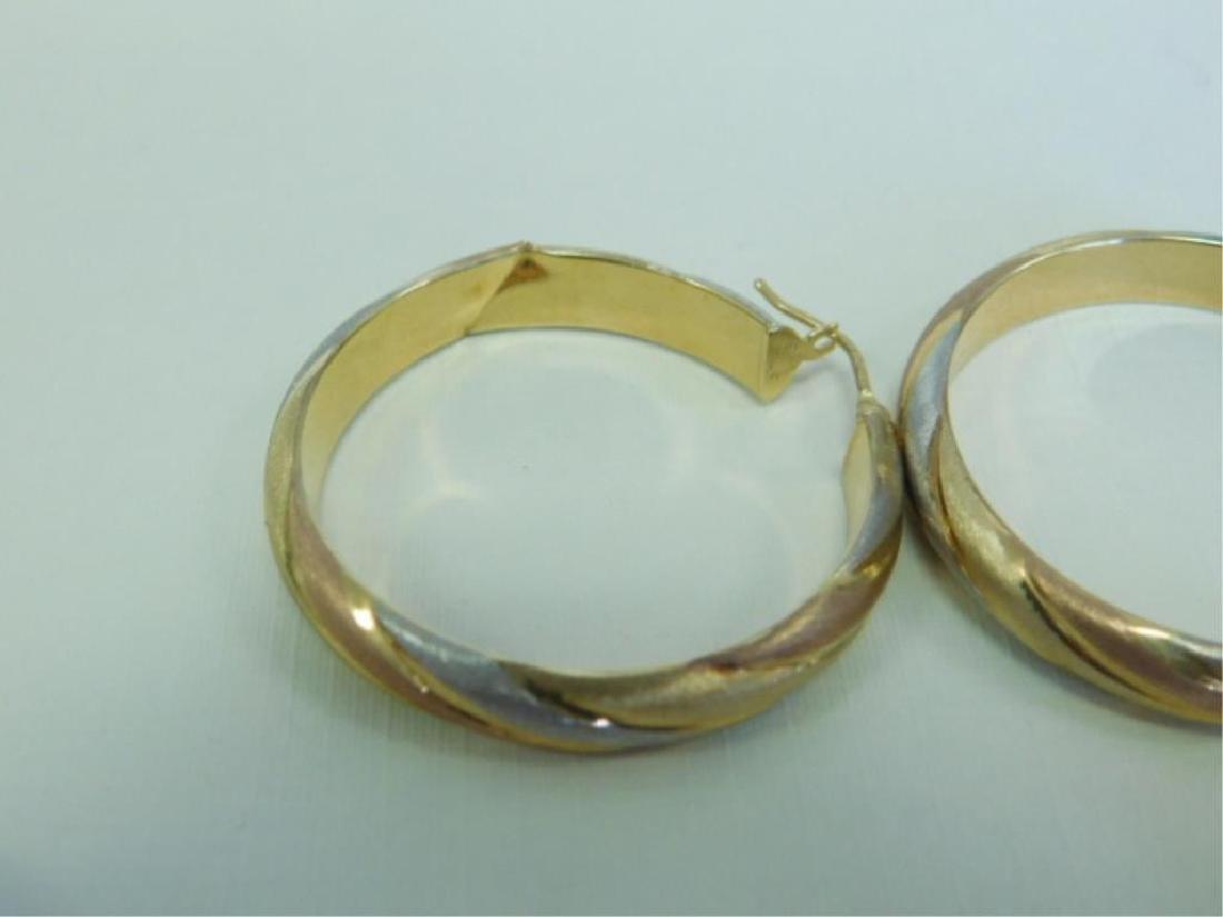 3 Pr. 14k Tricolor Hoop Earrings - 3