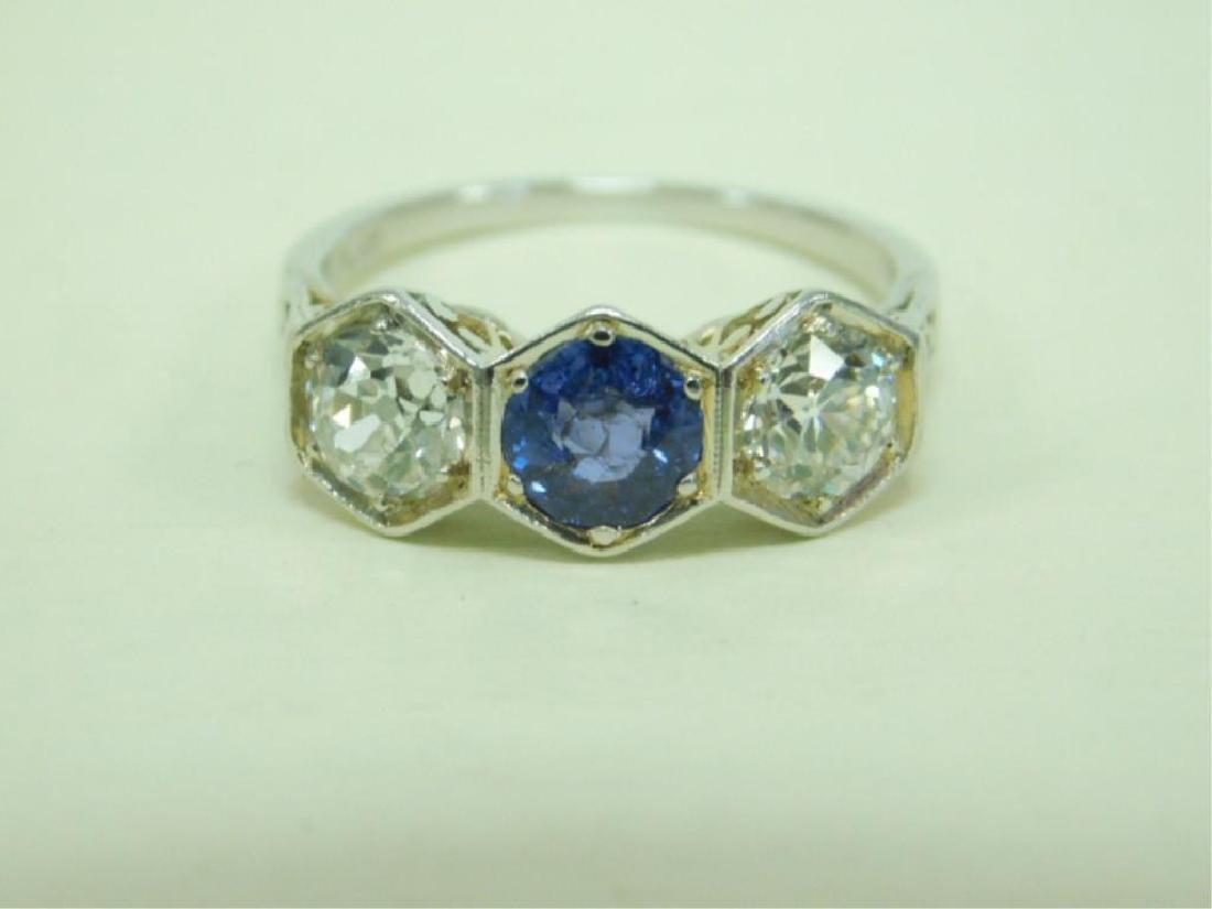 Deco Platinum Diamond & Sapphire Ring