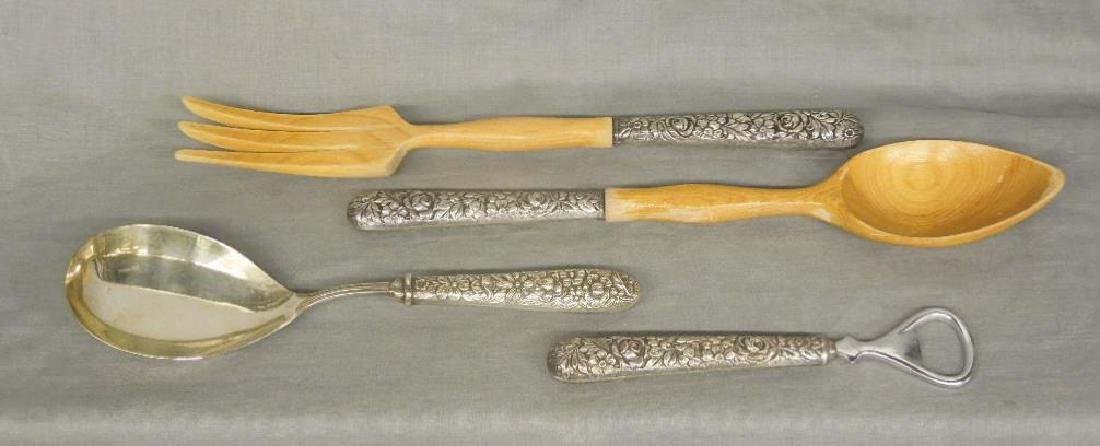 4 Floral Repousse Sterling Serving Flatware