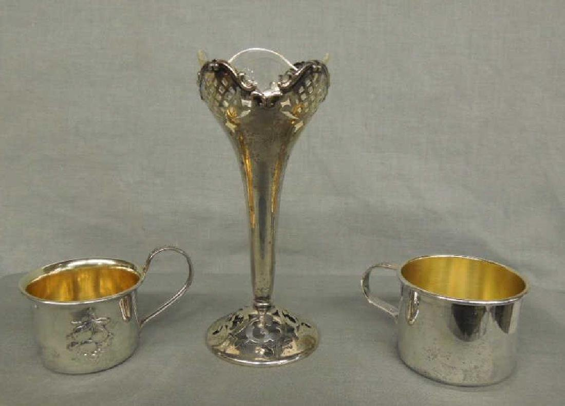 Silver Vase & 2 Child's Cups