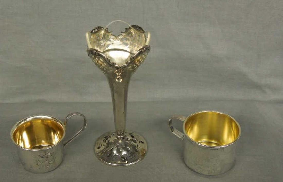 Silver Vase & 2 Child's Cups - 2