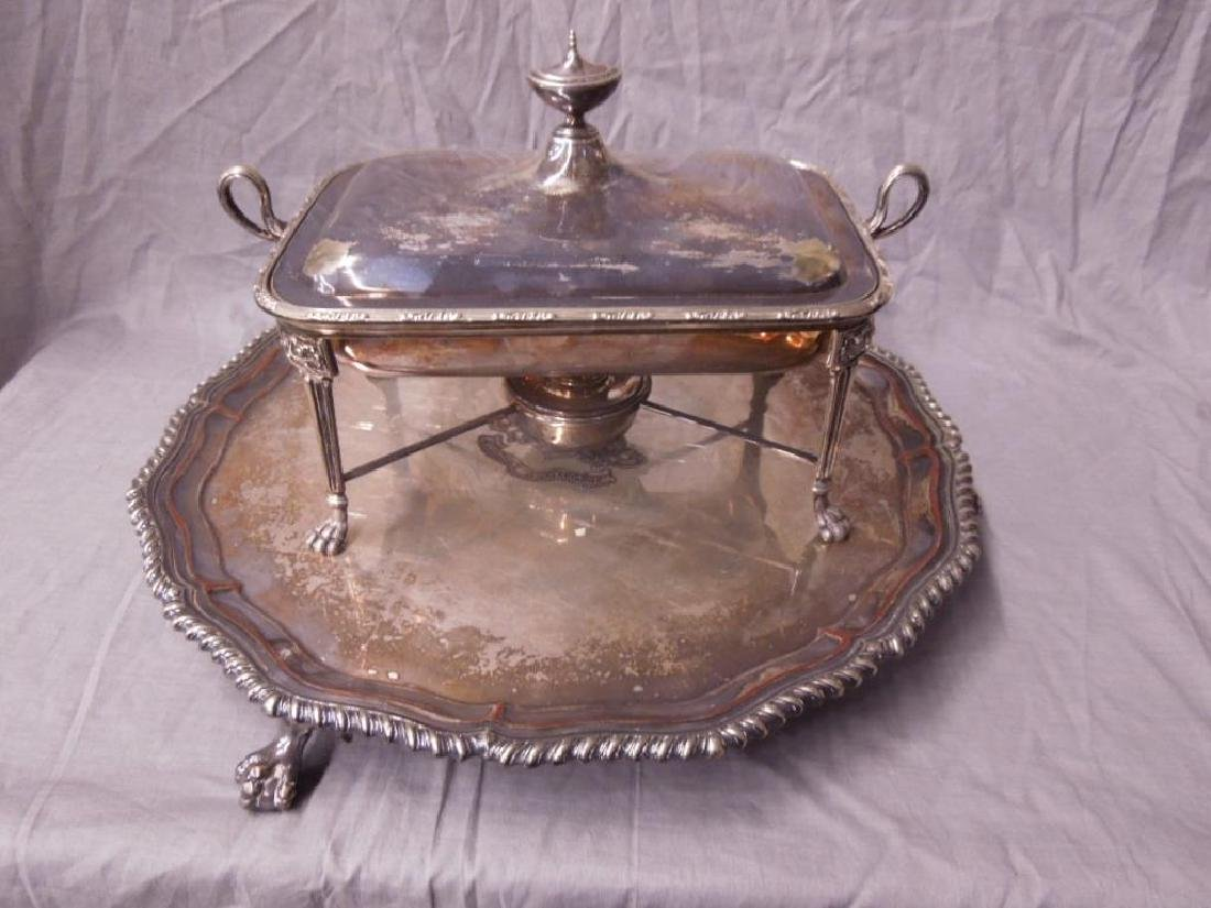 Silver Plate Tray & Chafing Dish