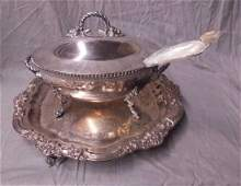 Silver Plate Tray  Soup Tureen