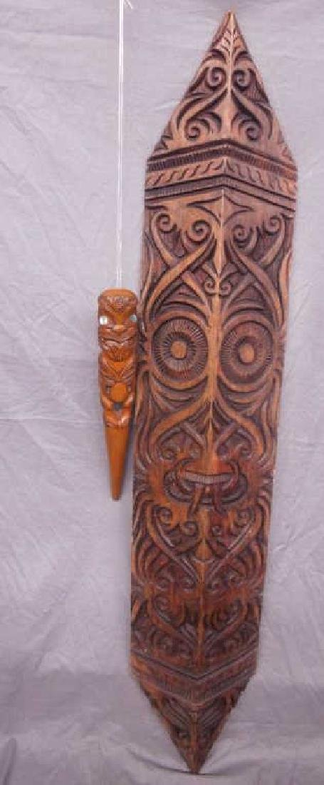 2 Carved Oceanic Wood Tribal Pieces