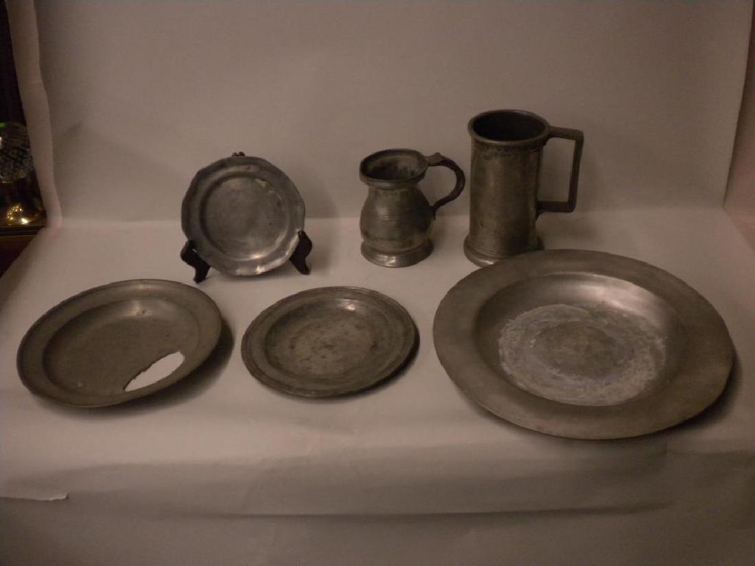 6 Antique Pewter Tableware Pcs