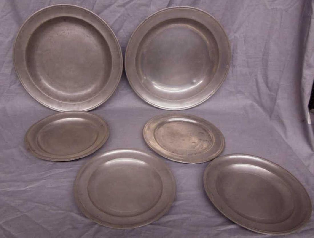 Six 19th C. Pewter Plates