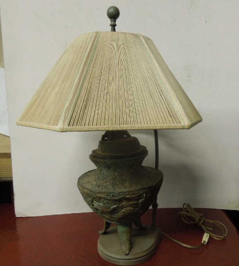 Chinese Bronze Covered Urn/Lamp