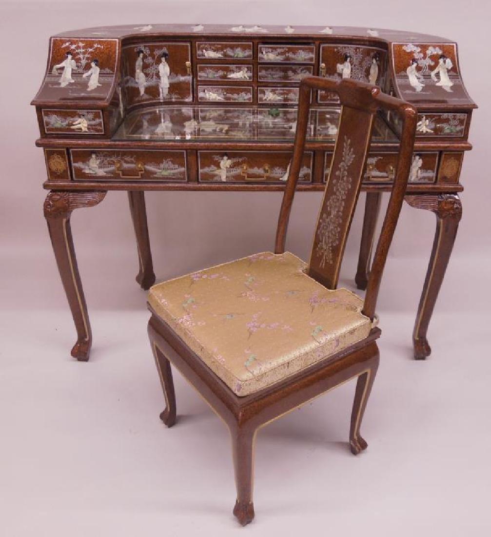 Chinese Inlaid Carlton Desk & Chair