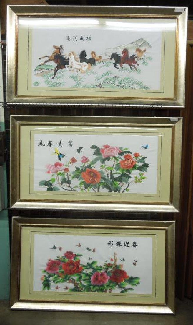 3 Large Chinese Embroideries on Silk
