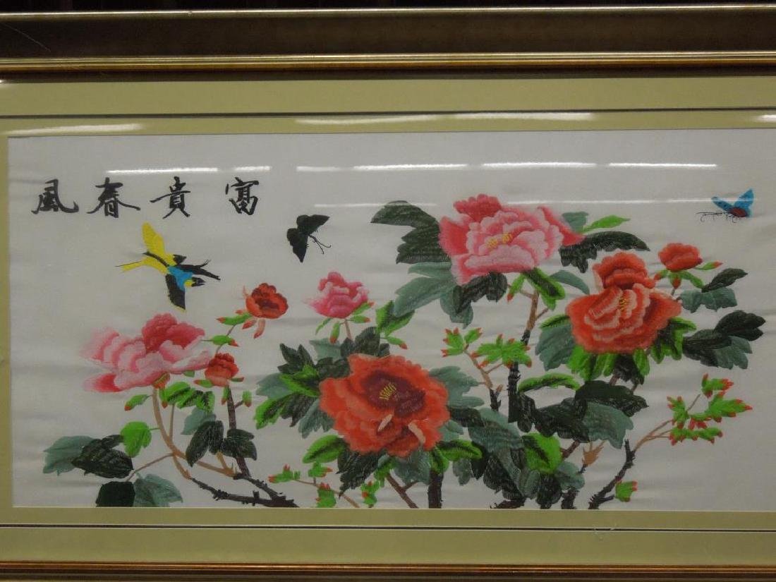 3 Large Chinese Embroideries on Silk - 3