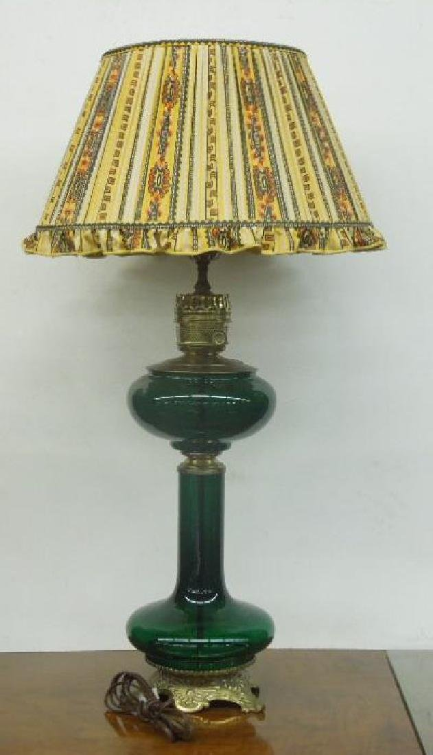 Green Glass Banquet Lamp
