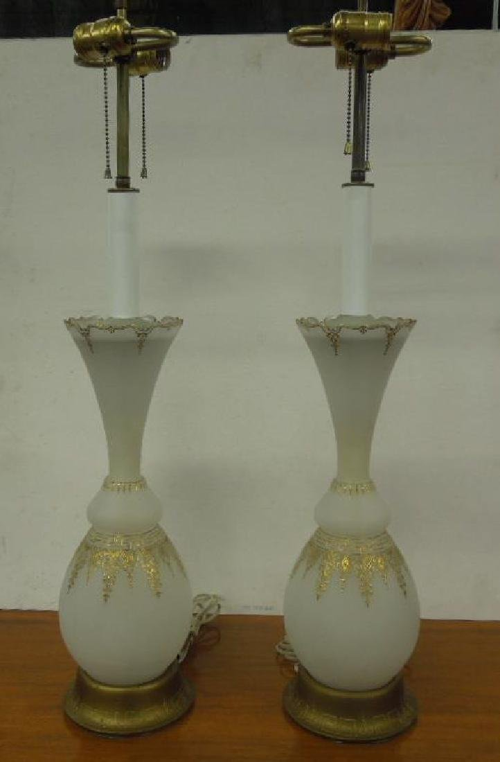 Pr Venetian Glass Vase / Lamps