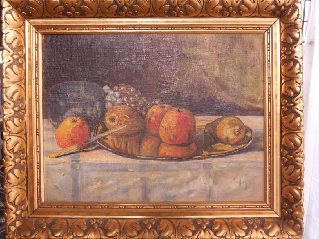 J [?] Guiton, Still Life w/Apples, Pears & Grapes