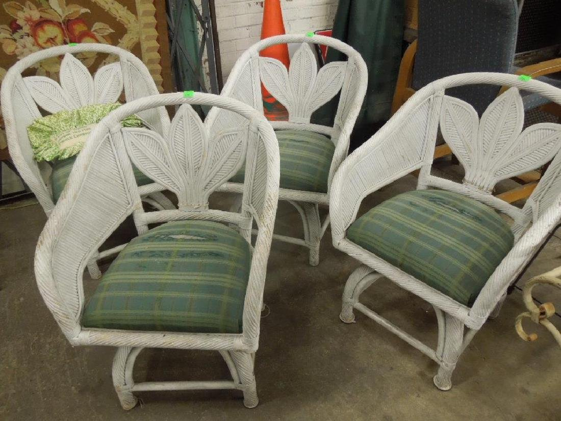 Set of 4 Wicker Arm Chairs