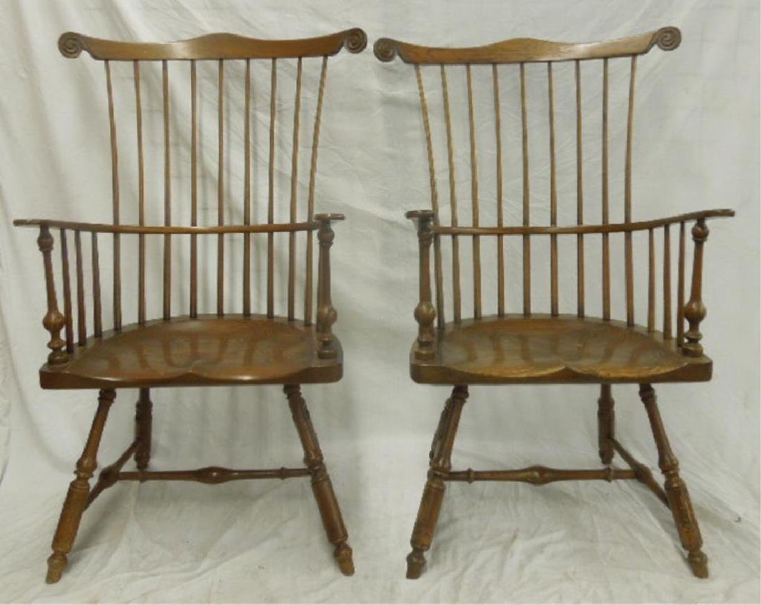 Pr Comb Back Windsor Style Arm Chairs