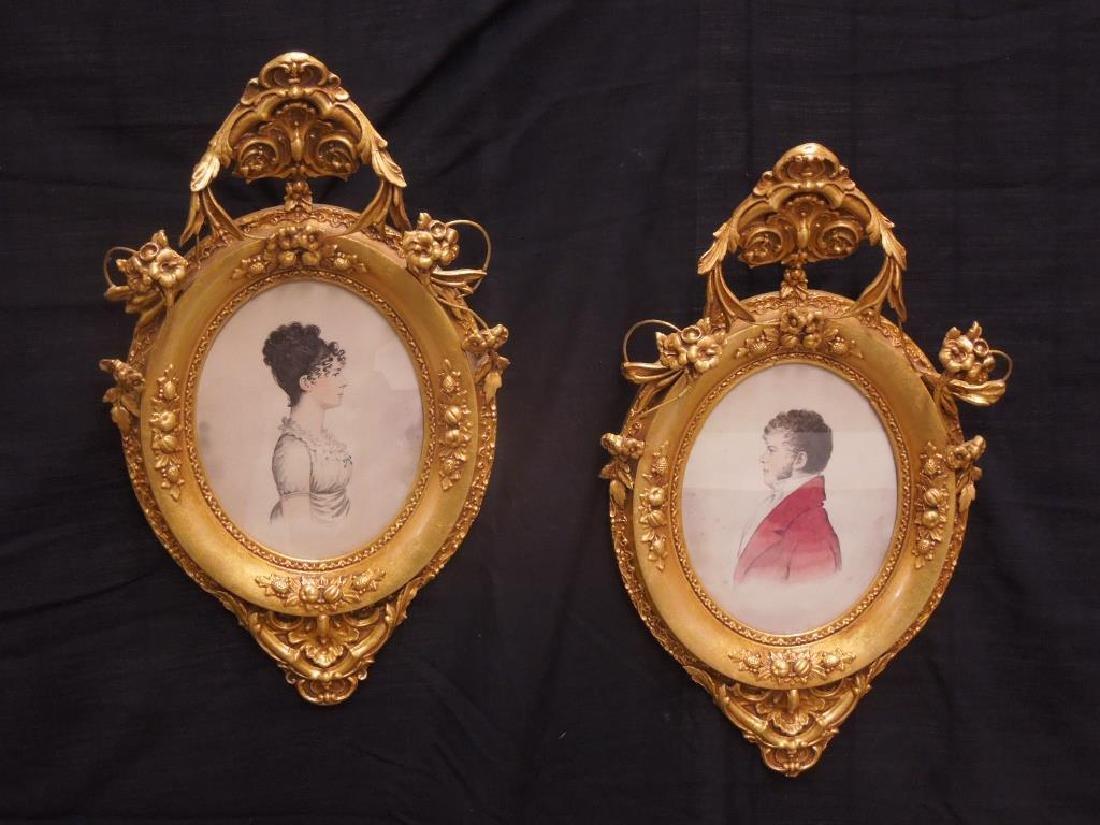 Pair Gilt Framed Bust Portraits