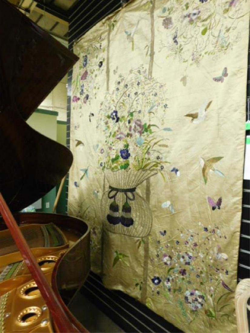 Rare Antique Chinese Embroidered Silk Wall Hanging