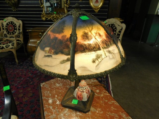 Reverse Painted Glass Table Lamp