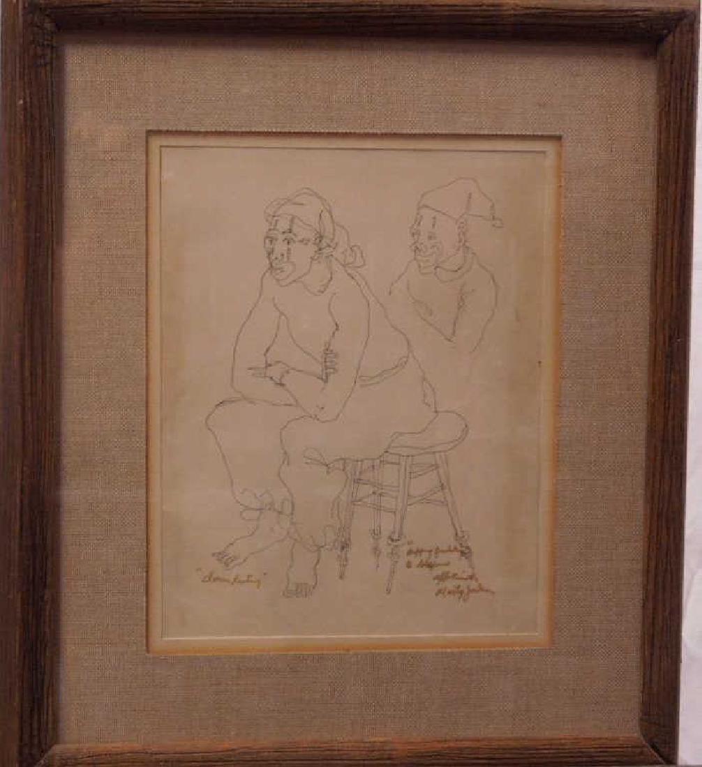 "M. Jackson, Ink on Paper, ""Clown Resting"""