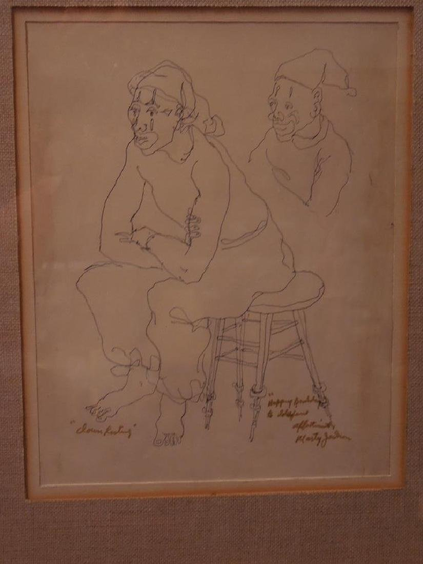 "M. Jackson, Ink on Paper, ""Clown Resting"" - 2"