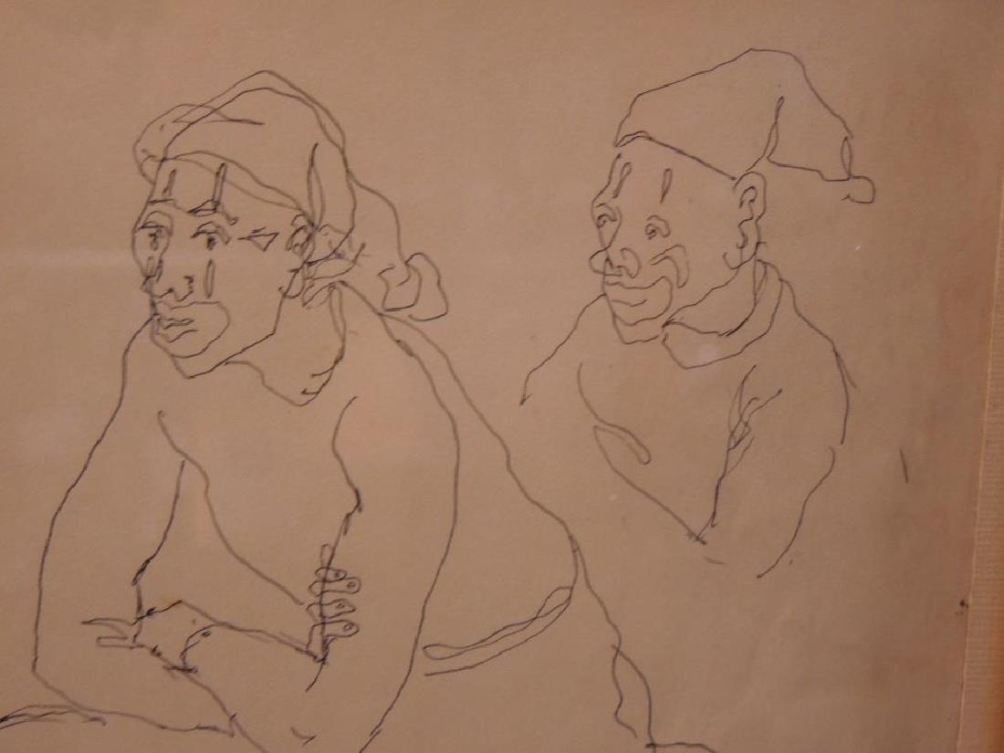 "M. Jackson, Ink on Paper, ""Clown Resting"" - 3"
