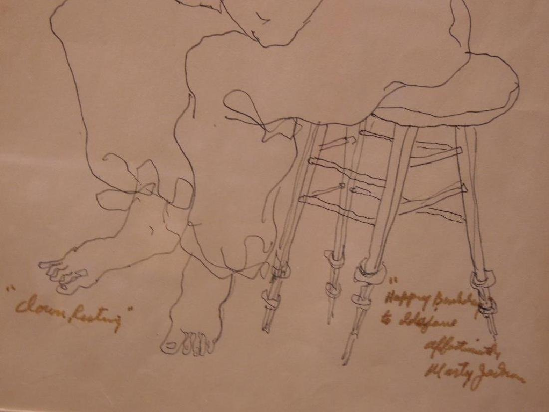 "M. Jackson, Ink on Paper, ""Clown Resting"" - 4"