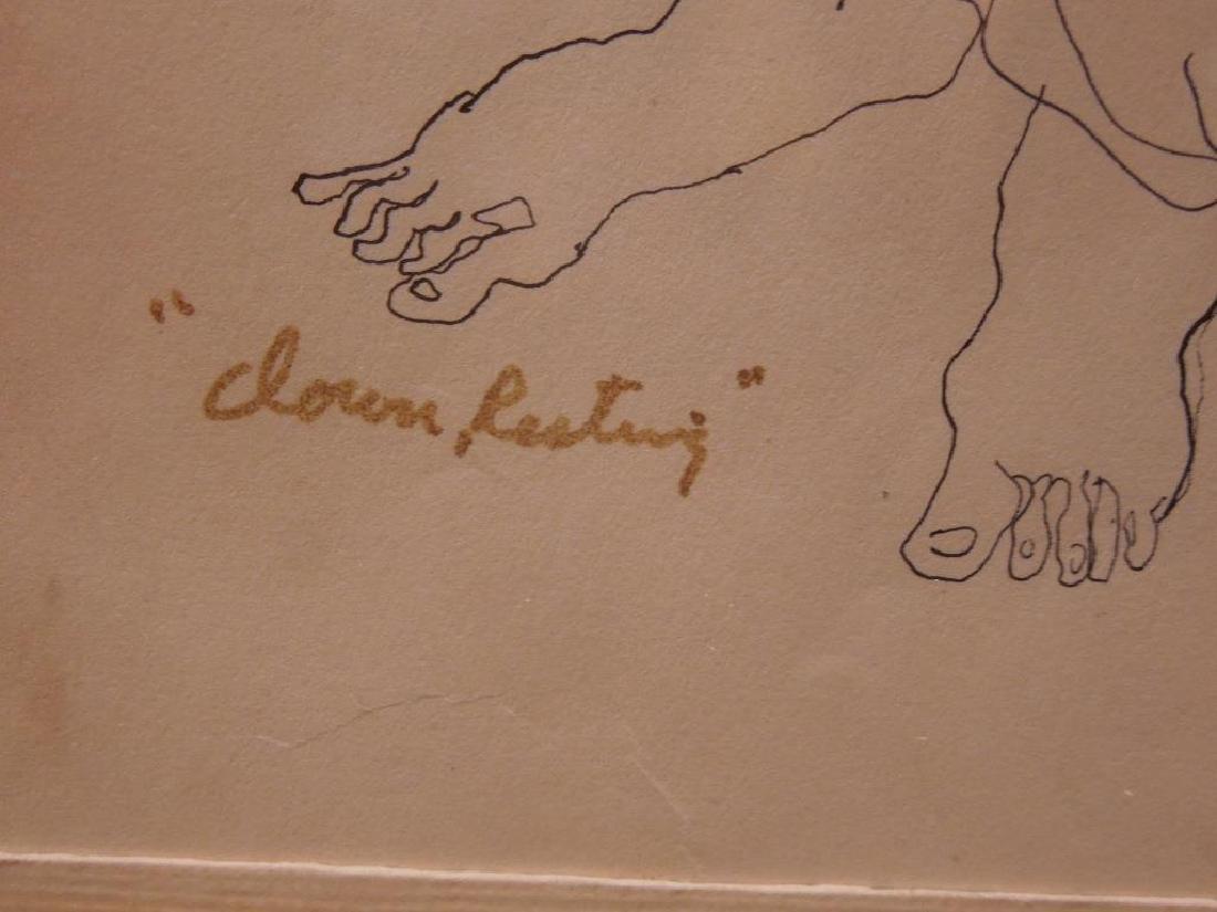 "M. Jackson, Ink on Paper, ""Clown Resting"" - 6"