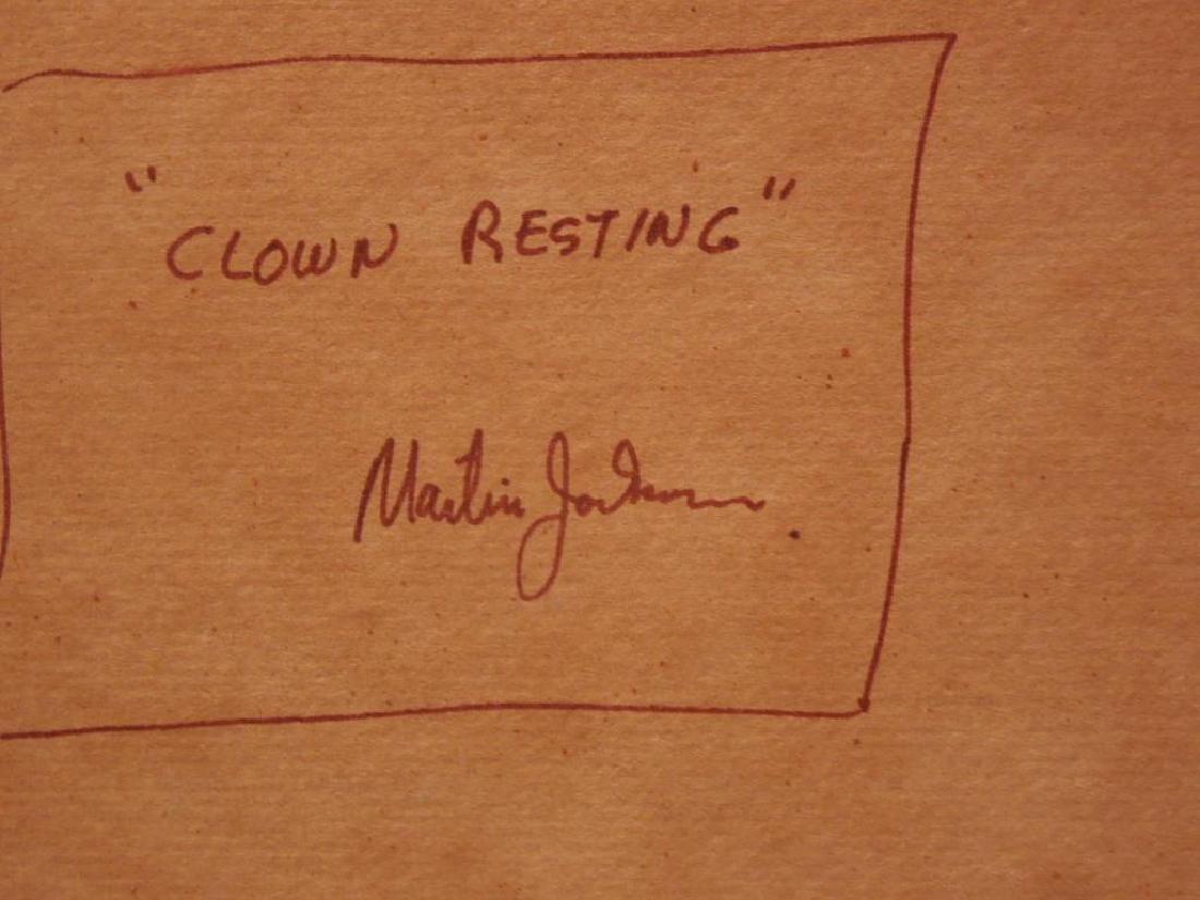 "M. Jackson, Ink on Paper, ""Clown Resting"" - 8"