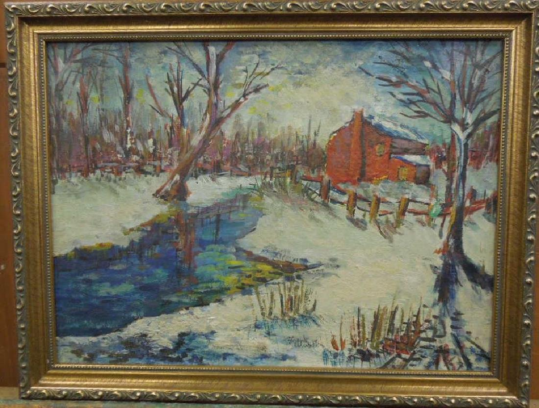 F. Wurster, o/b Snowscape w/Red Barn