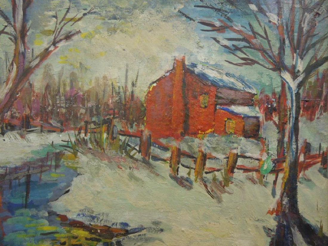 F. Wurster, o/b Snowscape w/Red Barn - 2