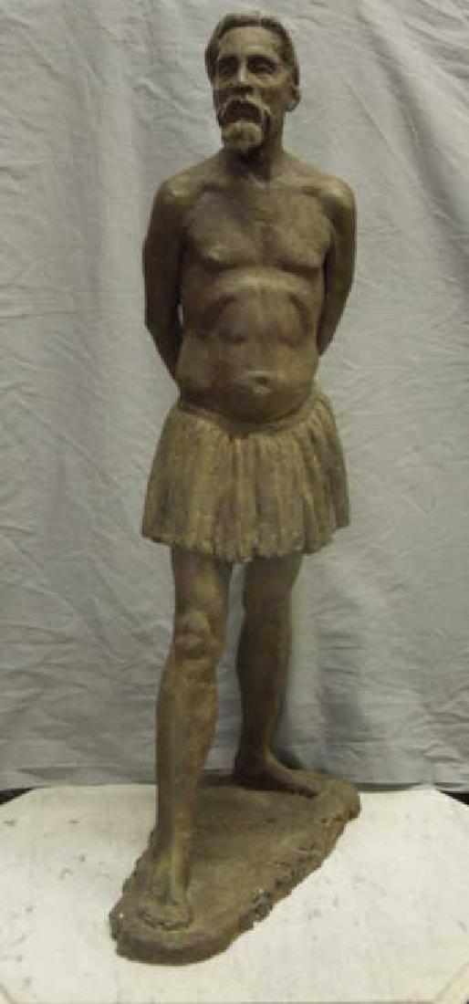 Sculpture of Bearded Man in Skirt